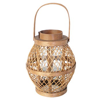 Small Bamboo Candle Lantern with Glass