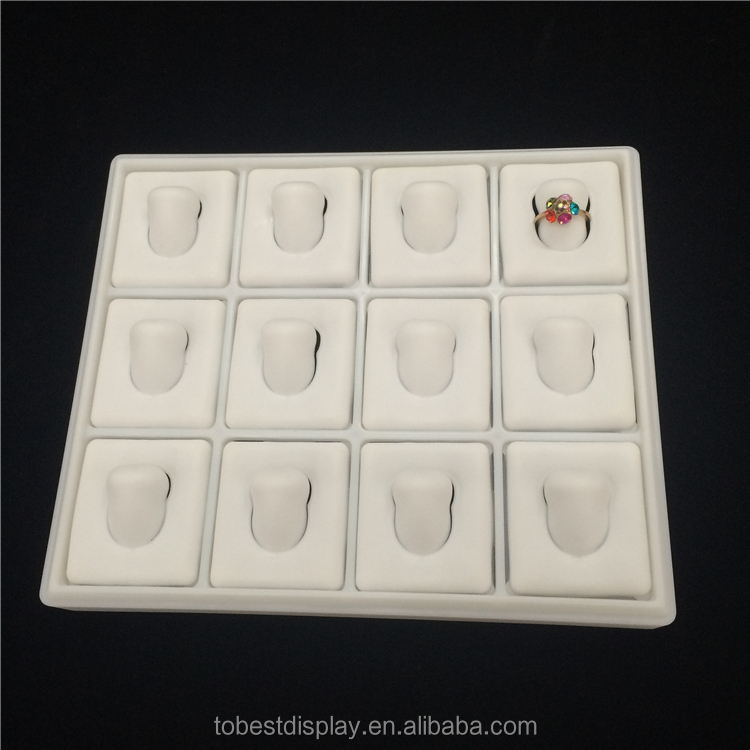 Top grade white plastic ring holder, ring display tray