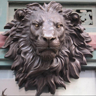 Casting mounted wall life size animal bust model bronze lion head sculpture