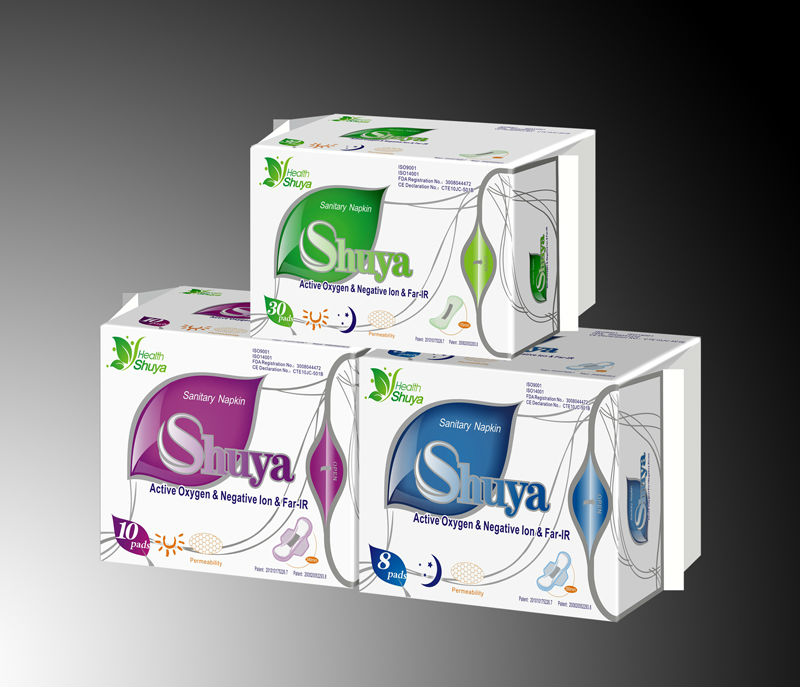 SHUYA active oxygen Far Infrared anion sanitary napkin Non-Woven Anion Chip Soft Cotton Super Absorption sanitary towel