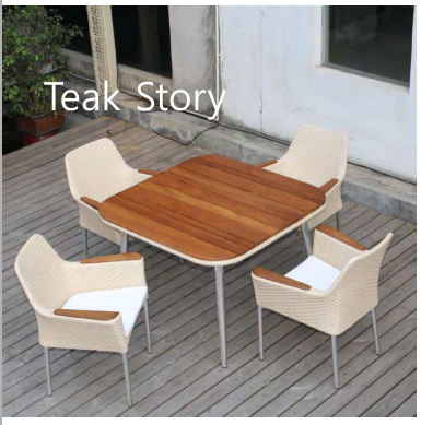Hot Sell All Weather garden wooden dining table and chairs teak outdoor furniture