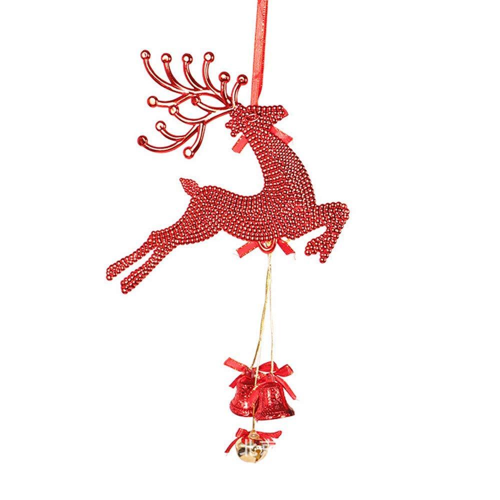 Franterd Christmas Tree Pendant Xmas Deer Pentagram Jingle Bell Rings Pendant for Christmas Tree & Door Hanging Decor - Happy Christmas