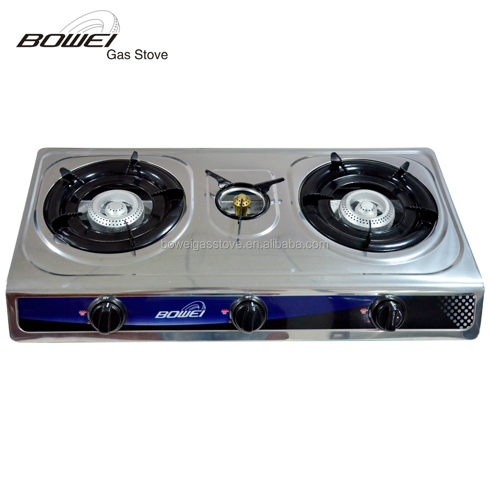 BW-3034B India Stove Cooktops Gas Stainless Steel Panel 3 Burner Gas Stove Gas Hobs