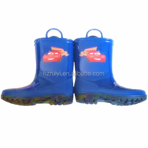cute cheap kids design your own cartoon garden water proof light plastic rain boot with handle,pvc shoes