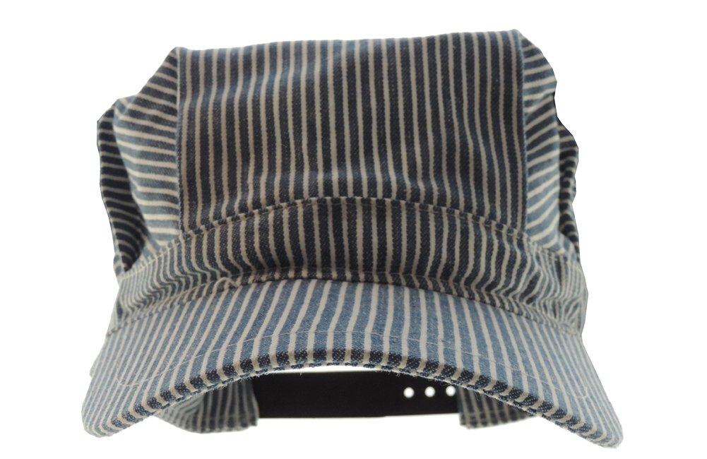 674440fcad0 Adult s Adjustable Blue and White Striped Railroad Engineer Train Conductor  Hat