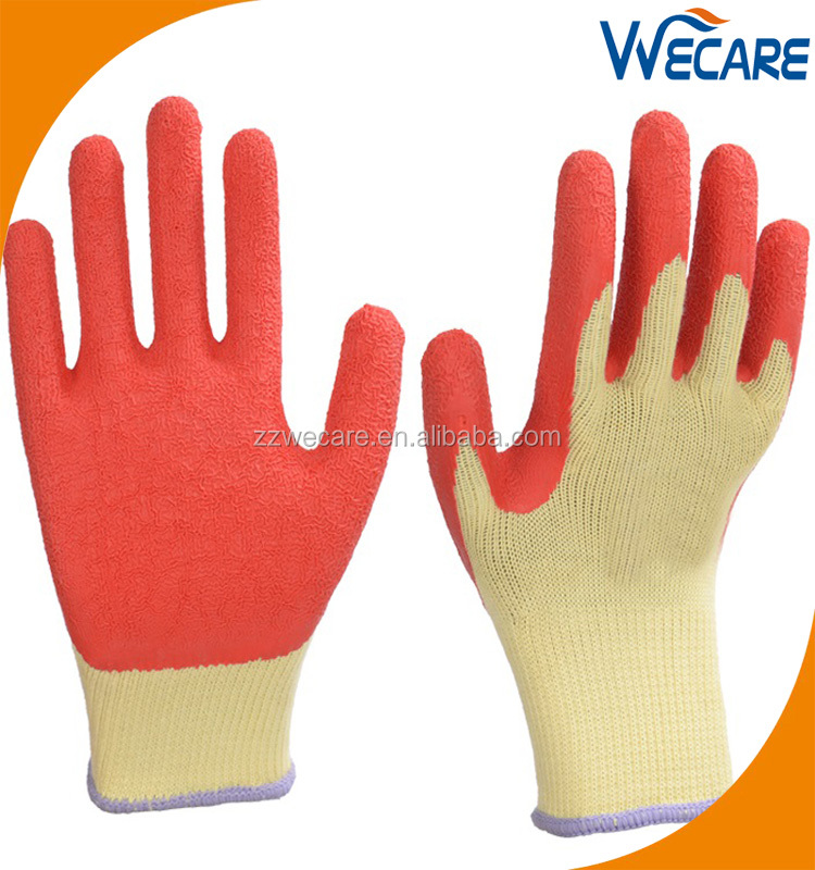LATEX COATED ORANGE RUBBER WORK GLOVES BUILDER GARDENING SAFETY GRIP