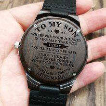 W1800-1 к сыну-Выгравированы Древесины Смотреть сандалового дерева пояса часы Роскошный автоматический кварцевые часы Kid смотреть на день рож...(Китай)