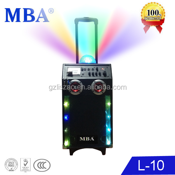 Bluetooth system colourful Laser 10 inch party laser trolley Speaker with Karaoke,USB,SD jack,