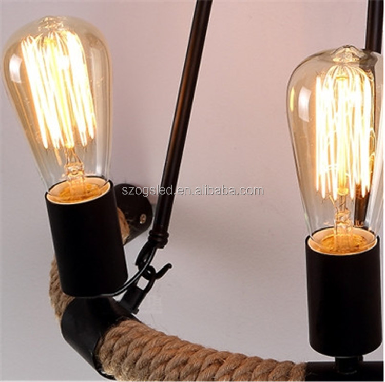 High quality hemp rope industrial vintage wall light with double light