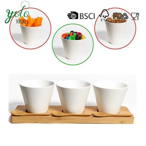Tasting Ceramics Bowls Bamboo Serving Tray For Candy Tapas Relish Snacks