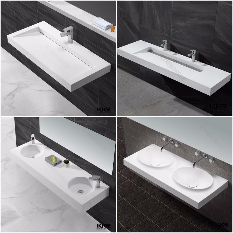 Corian Bathroom Sinks And Countertops: White Matte Rectangular Solid Surface Stone Acrylic Corian