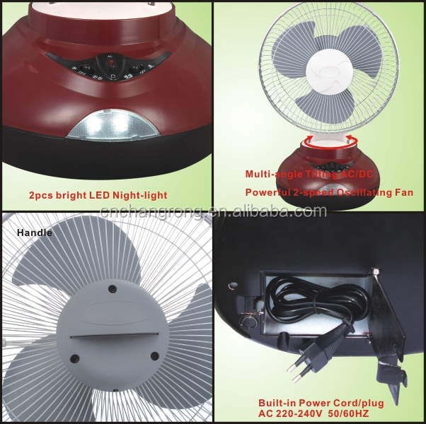 10inch AC/DC fan table with rechargeable battery LED light