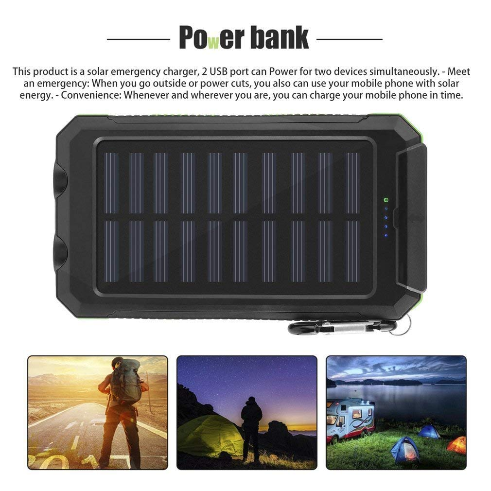 green Search Terms: Waterproof, 300000mAh Power Bank, Solar Charger, Dual USB, with Compass, 2 LED Waterproof 300000mAh Solar Charger Dual USB Battery Power Bank Compass 2 LED