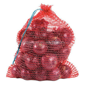 Red Whole Mesh Onion Bags Plastic