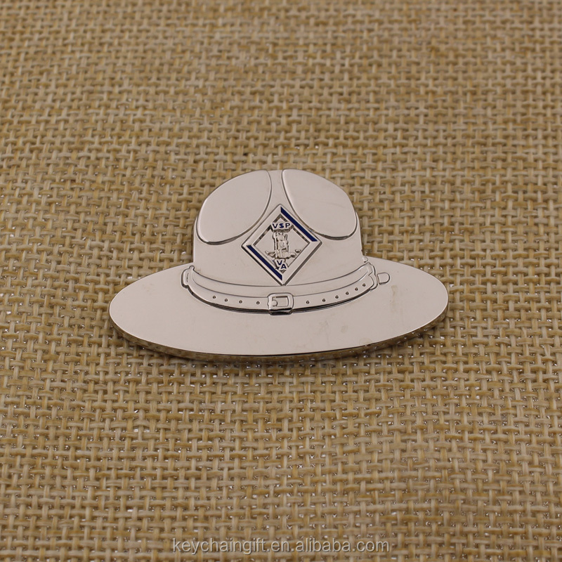 Custom cheap metal hat shape silver coin double coin wholesale