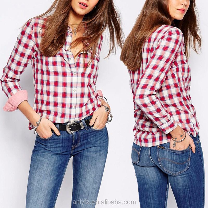 77243c1e 2016 Alibaba Fashion Latest Design Girls Top Cotton Check Shirt Fabric For  Women