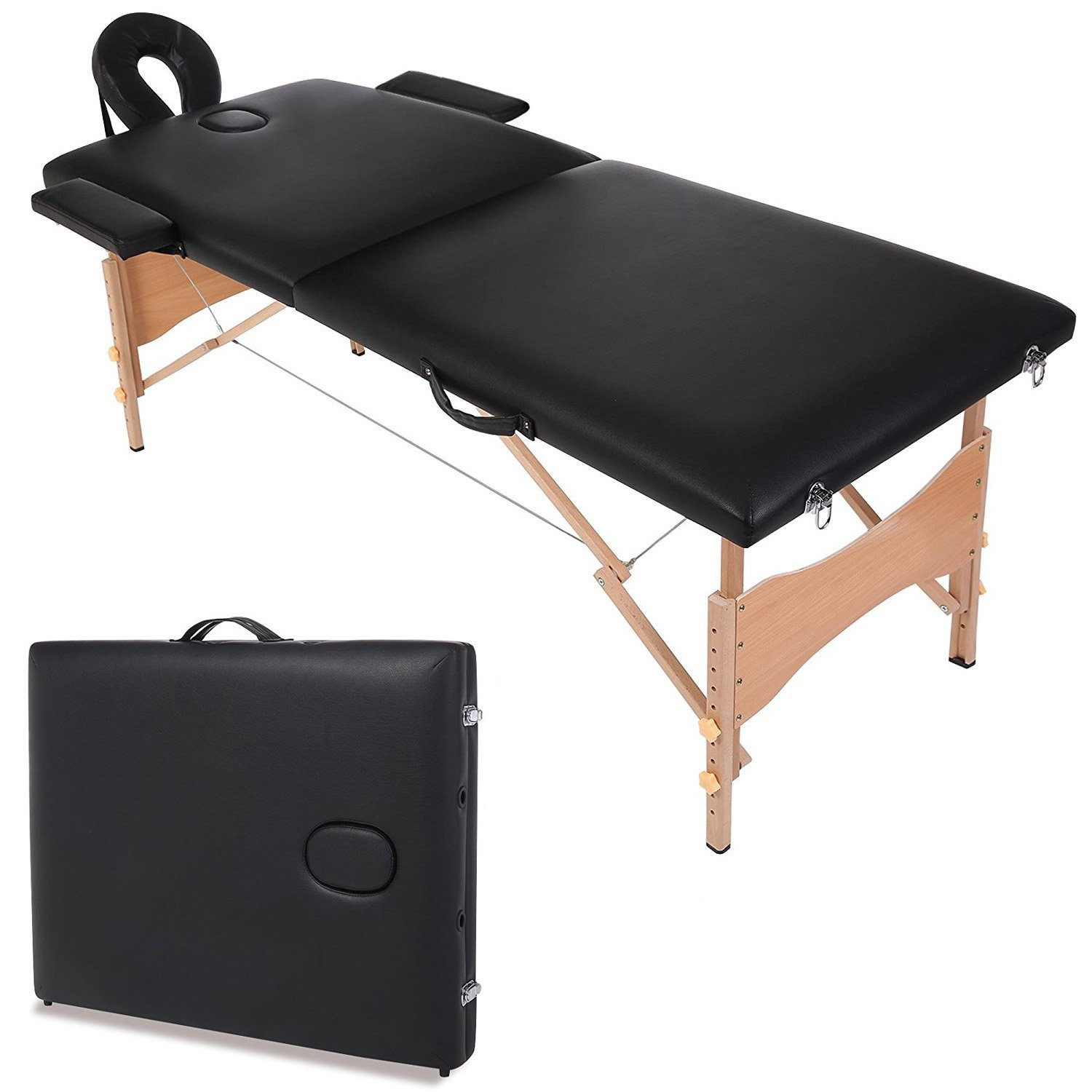 Portable Two-fold Professional Massage Table, Synthetic Leather Comfort Pad SPA Facial/Foot Chair Bed, W/Free Carry Case[US STOCK]