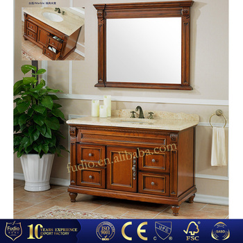 Fudio Solid Wood Bathroom Furniture Cabinet With Mirror