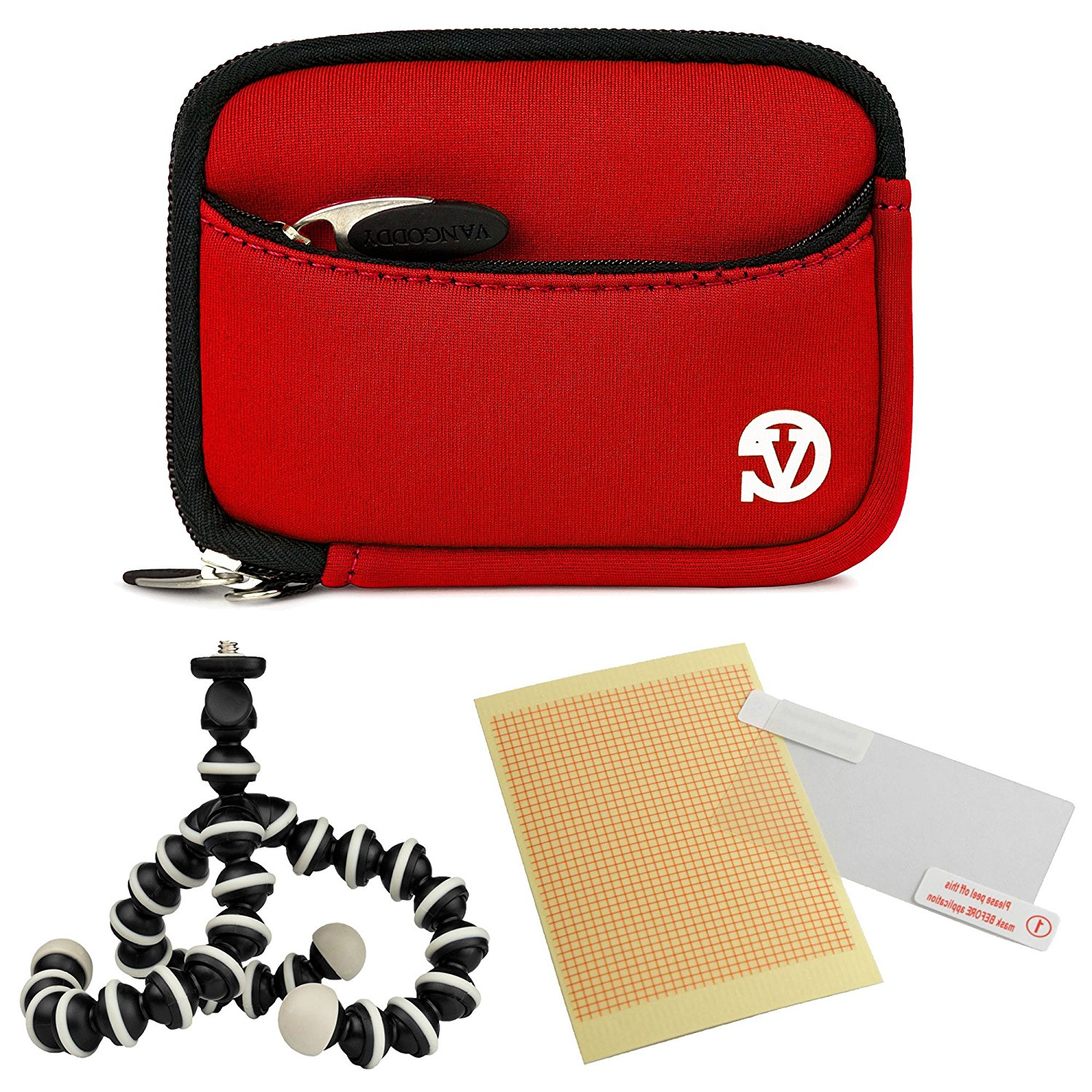VanGoddy Mini Glove Sleeve Pouch Case for Canon PowerShot S120, S110, S100, S95, S90 Digital Cameras (Red)+ Screen Protector + Mini Tripod Stand