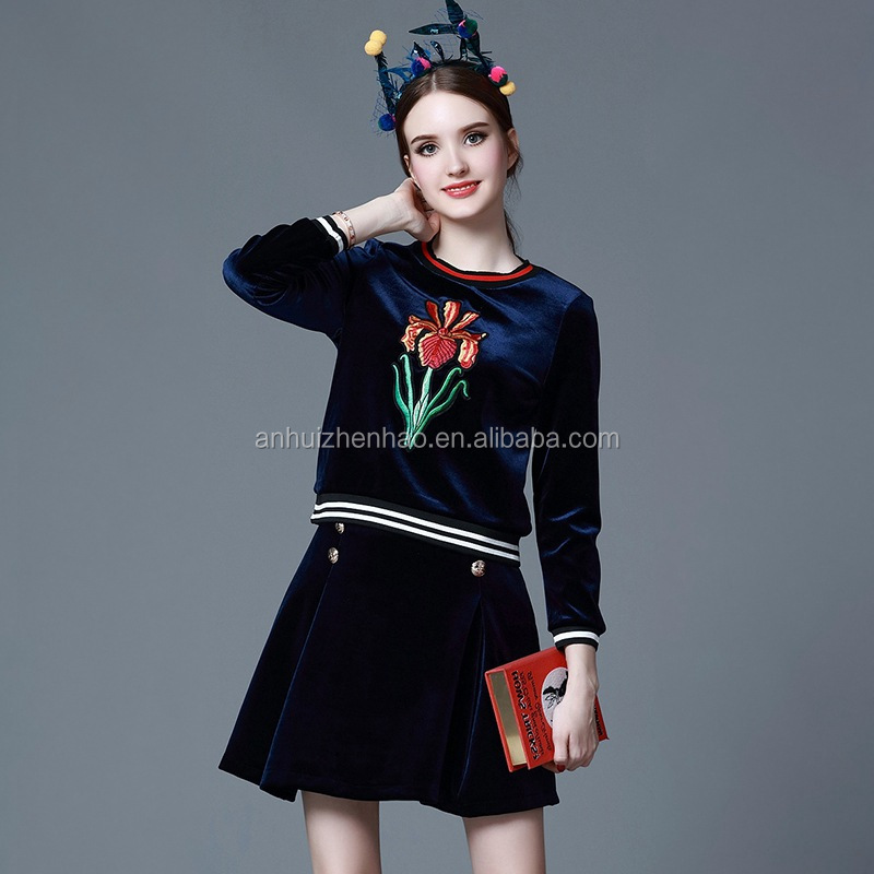 Lady Autunm Velvet Embroidery 2pcs Skirts suits Dark Blue Hoodie+Pleated Skirt ZH1236E