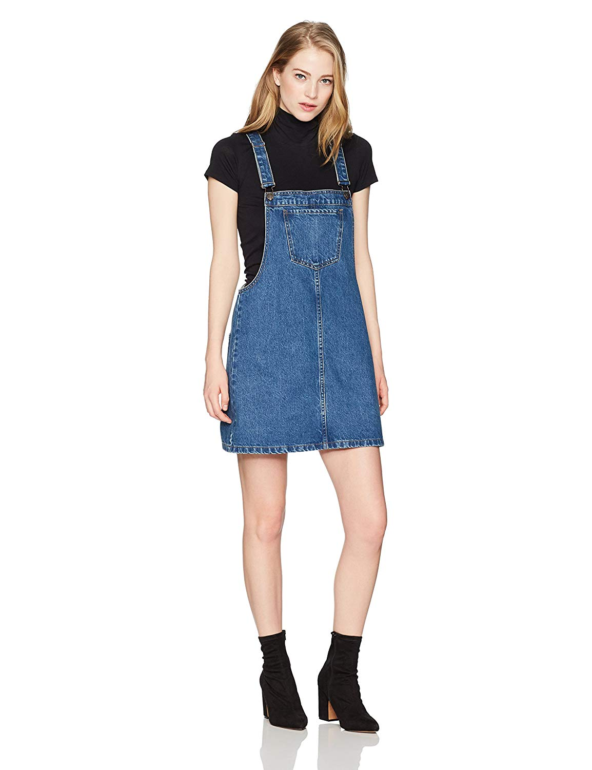 46ac31ed1791 Get Quotations · Lily Parker Women s Classic Adjustable Strap Denim Overall  Dress