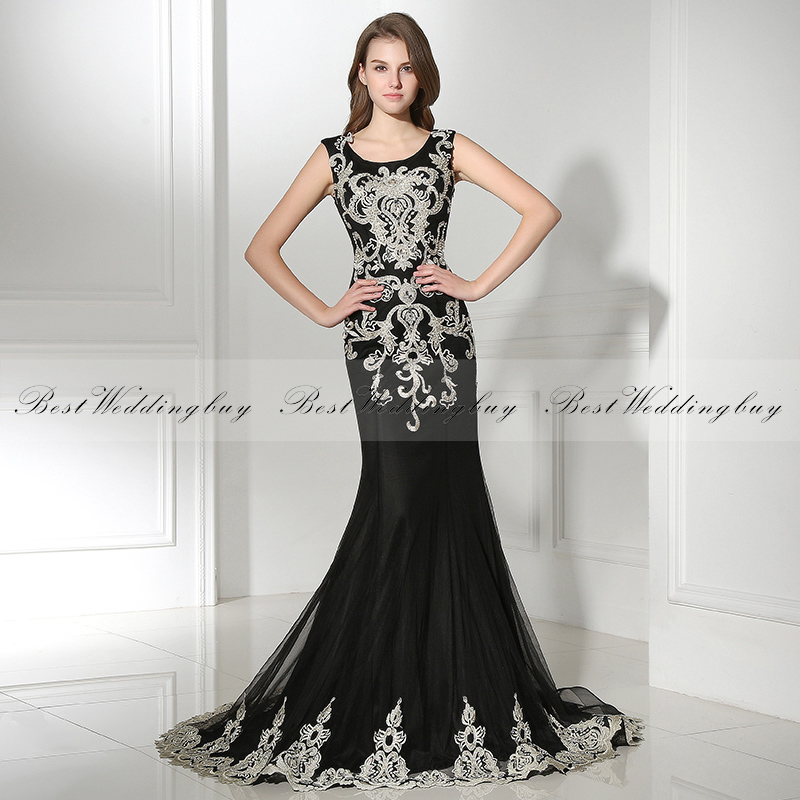 2017 New Arrival Mermaid Embroidered Black Formal Evening Dresses LX385