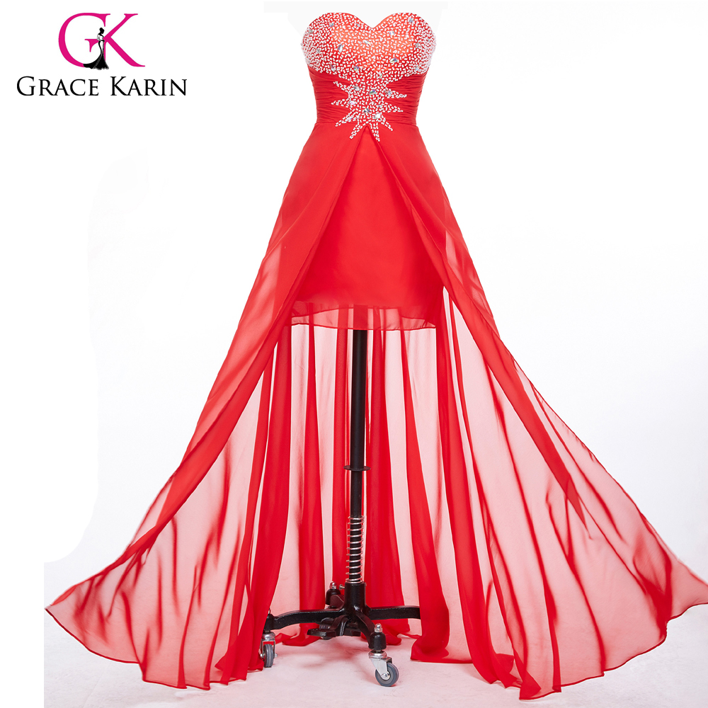 Grace Karin Strapless Chiffon Ball Long Red Prom Dresses Beading Red Bandage Evening Gowns Sexy Party Dress CL6001