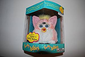 PINK AND WHITE W/ YELLOW MOHAWK PEACH FURBY BABY 1999