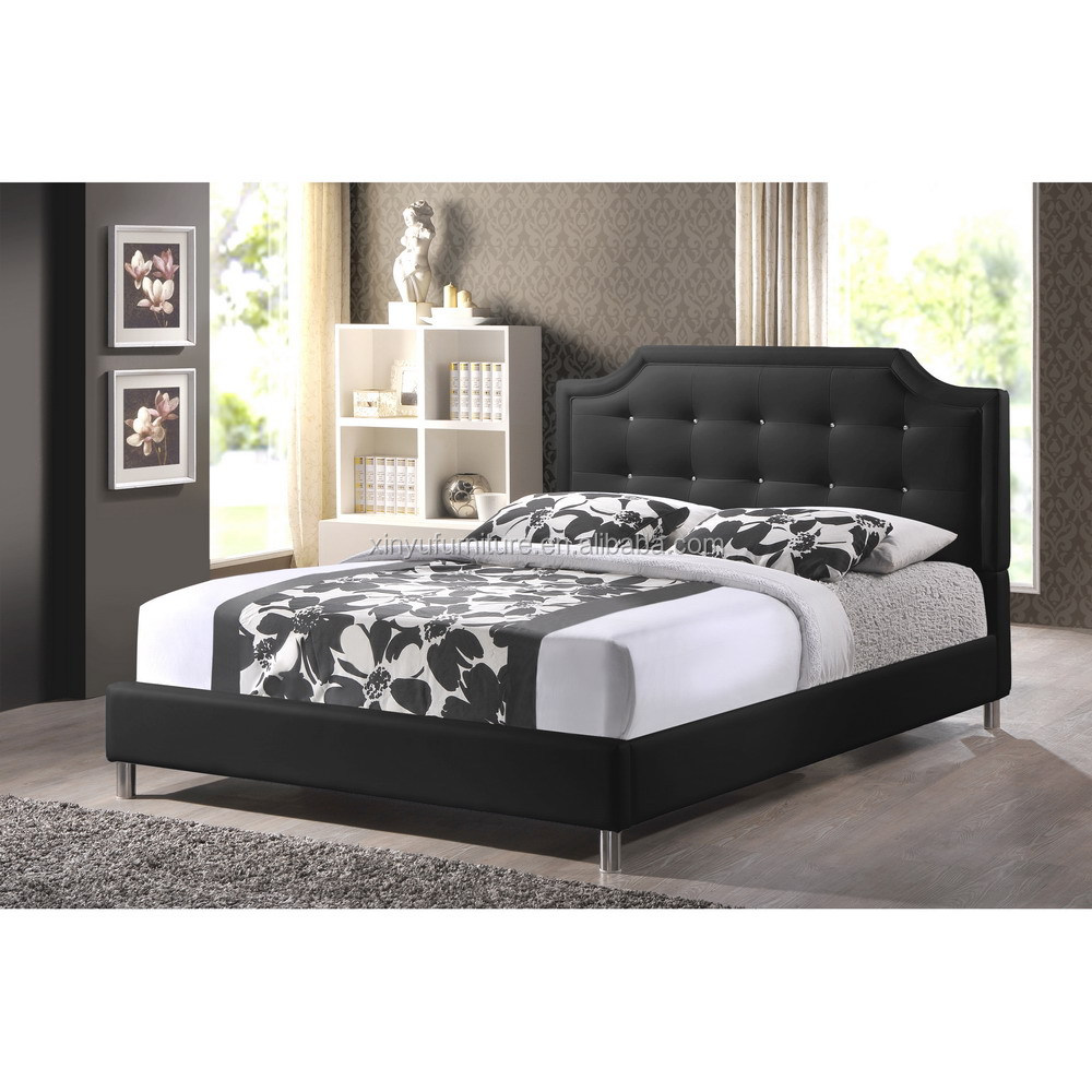 Black Fabric Queen Bed Frame Pu Leather Linen Princess Bed Bedroom ...