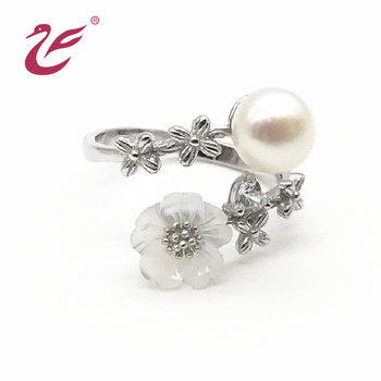 Latest design silver pearl ring designs wedding pearl ring mounting for women wedding