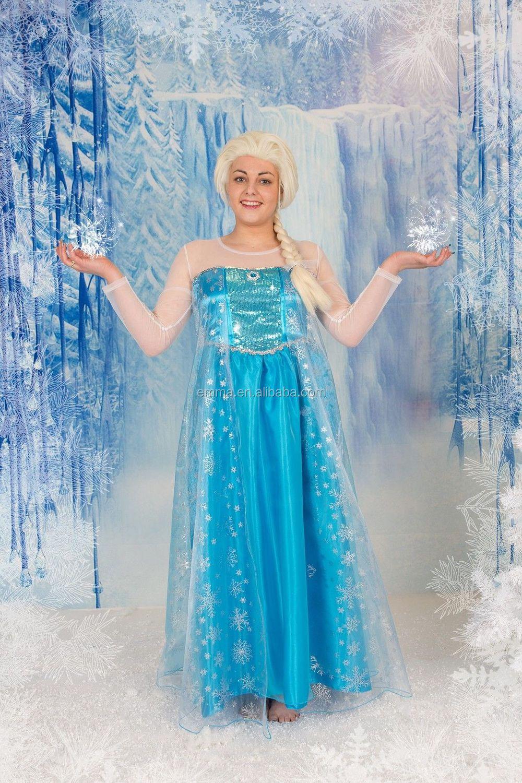 Newest Frozen Style Party Fancy Blue Elsa Dress Womens Ladies Frozen ...