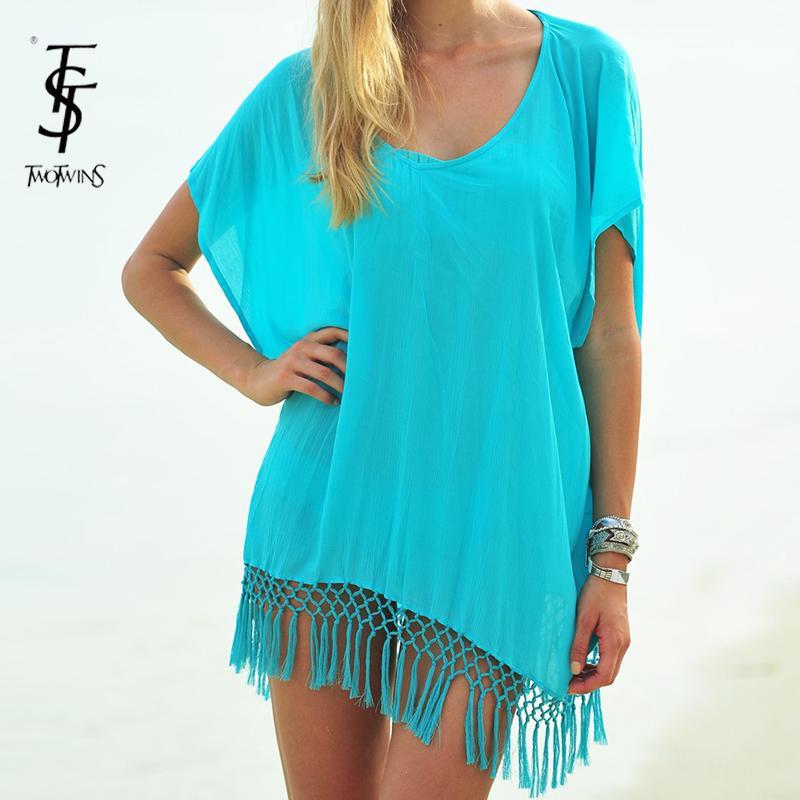 6d1d6b409d 2015 New fashion summer beach dress female sexy tassel beachwear cover up  bikini lady beach wear tunic