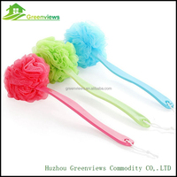 China supplier puff mesh bath sponge with plastic long handle PE net body exfoliating brush back scrubber for shower