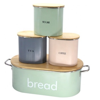 Metal Bread Bin & 3 Coffee, Sugar, Tea Canister Set With Bamboo Lid For Food Storage
