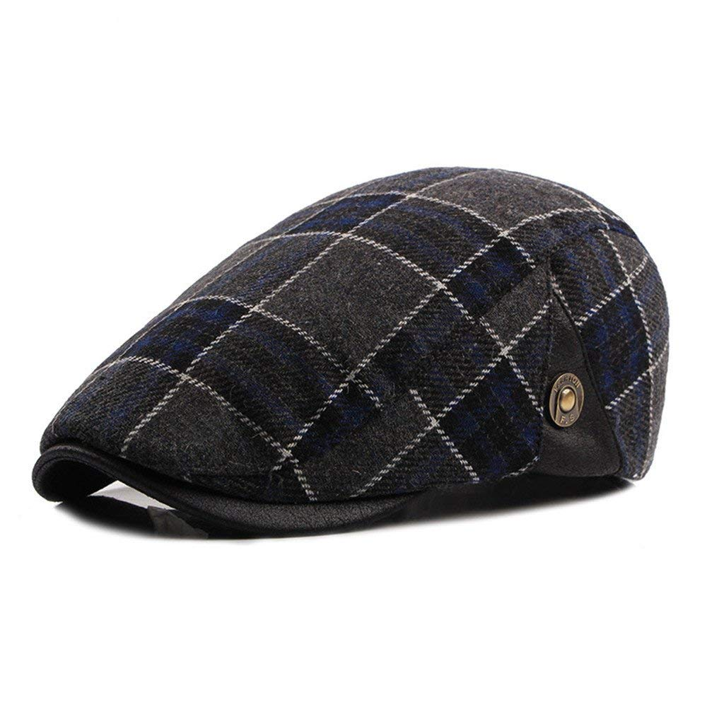 a3ea409f89a Get Quotations · doublebulls hats Flat Cap Cotton Men Winter Plaid Vintage newsboy  Gatsby IVY Caps Irish Hats