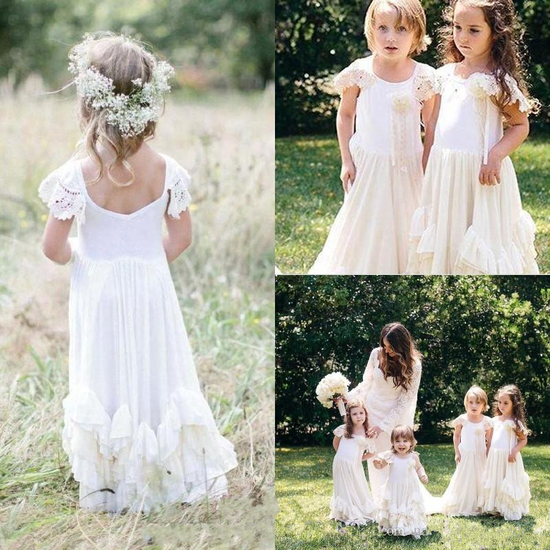 Boho Blush Pink Wedding Dresses 2017 Pretty 3d Flower Lace: Popular Modest Girls Dresses-Buy Cheap Modest Girls