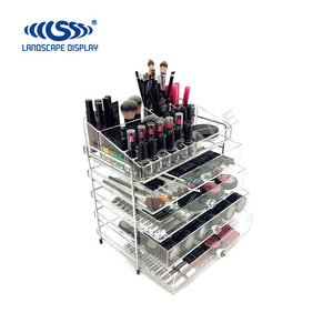 Custom counter top clear acrylic makeup cosmetic display stand for holding lipstick