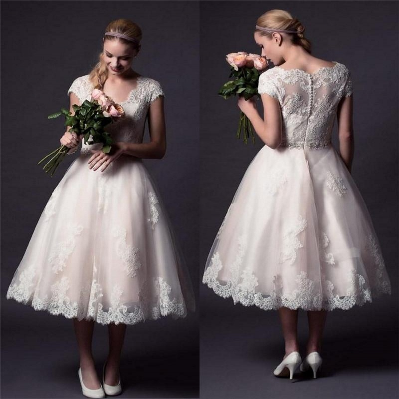 Vintage Lace Tea Length Beach Wedding Dress Short Sleeves: 2015 Vintage Lace Wedding Dresses A Line V Neck Tea Length