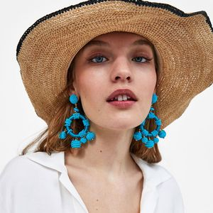 LANCUI Europe and America exaggerated tassel seed beads earrings big earrings jewelry women fashion jewelry