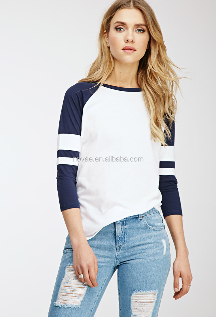 cbfe314526 100% algodón deportivos mujeres blusa Tops Tee de manga larga de béisbol T  camisa