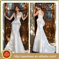 C07 Two Piece Lace Bodice Bridal Wedding Gown with V Cut Low Back Stain Mermaid Full Length Suzhou Best Dress Wedding Dress