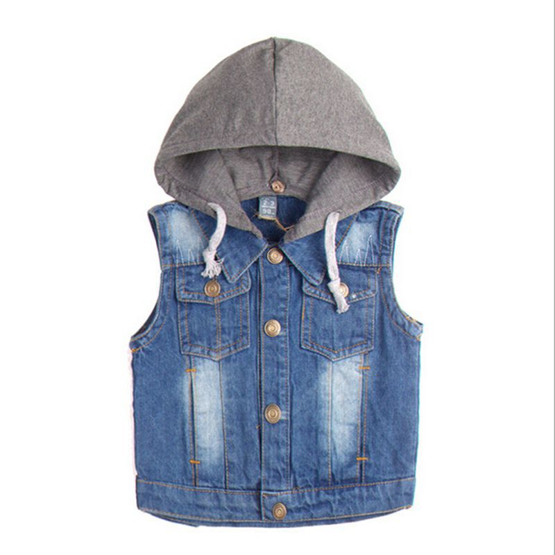 New 2015 Fashion Spring Autumn Boys Denim Vest Boys Vest Children's Clothing Casual Male Kids Baby Boy Vest Hooded CC2117W