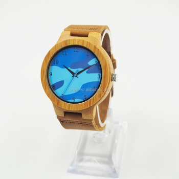 f5d32c27d4c Relogio Masculino Natural Bamboo Wood Men Watches With Ocean blue face  Quartz Watch In Gift Box