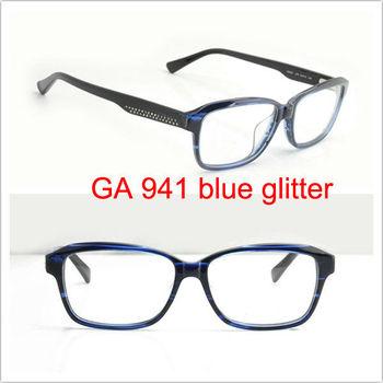 new arrival eyeware ga941 lt9 eg blue glitter eye glass name brand eyeglasses acetate optical frame - Name Brand Eyeglass Frames
