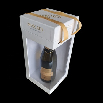 Luxury New design Cardboard Wine Glass Bottle packaging champagne gift box With Ribbon Handles