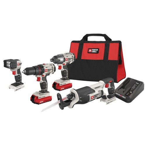 Porter-Cable PCCK615L4R 20V MAX Cordless Lithium-Ion 4-Tool Compact Combo Kit (Certified Refurbished)
