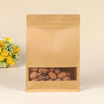 Whole Custom New Design Flat Bottom Eight Side Sealed Ziplock Pouch Kraft Paper Bag For Food