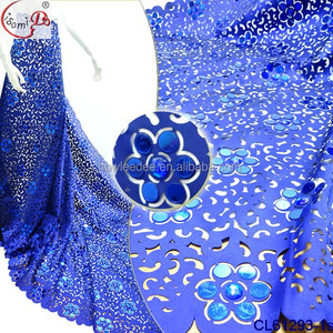 Top quality CL61293 sequins embroidery lace fabric women party french lace laser cut fabric