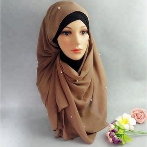 ZP hot sale chiffon pearl beaded hijab in cheap price
