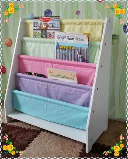 Natural Wooden Kids 5 Tier Canvas Bookshelf With Toy Storage Box